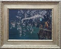 Geishas Beneath a Cherry Blossom Tree - British Oriental landscape oil painting