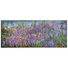 E. Ballestra Oil Painting on Canvas Wisteria Branches