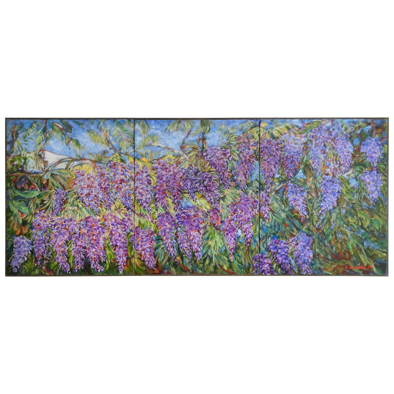 E. Ballestra Oil Painting on Canvas Wisteria Branches For Sale