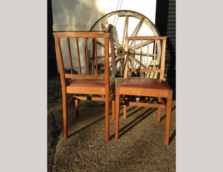 Arts and Crafts E Barnsley for the Rural Industries Bureau Six Arts & Crafts Oak Dining Chairs For Sale