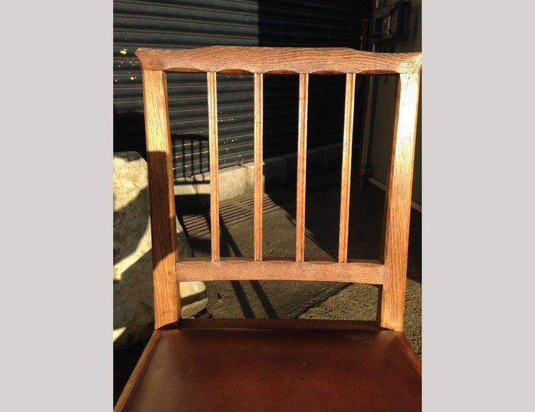 Hand-Crafted E Barnsley for the Rural Industries Bureau Six Arts & Crafts Oak Dining Chairs For Sale