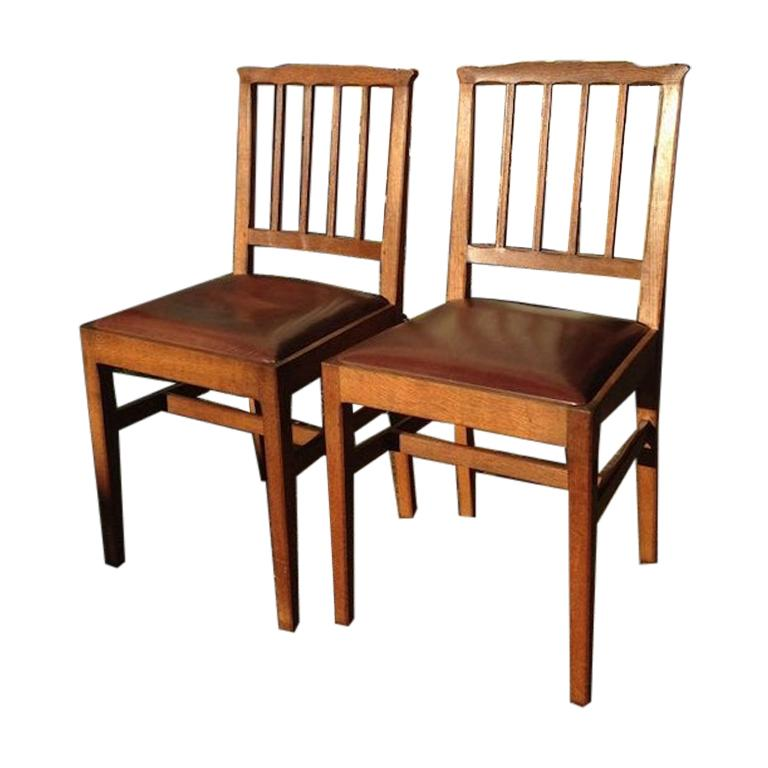 E Barnsley for the Rural Industries Bureau Six Arts & Crafts Oak Dining Chairs For Sale