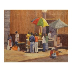 Colorful Contemporary Street Scene Impressionist Landscape Painting