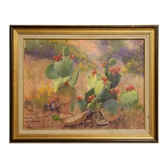 Pink, Purple, and Green Toned Flowering Cacti Desert Landscape Painting