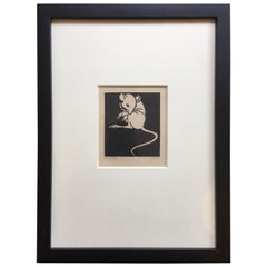 E. Bates Wood Block Mouse Print