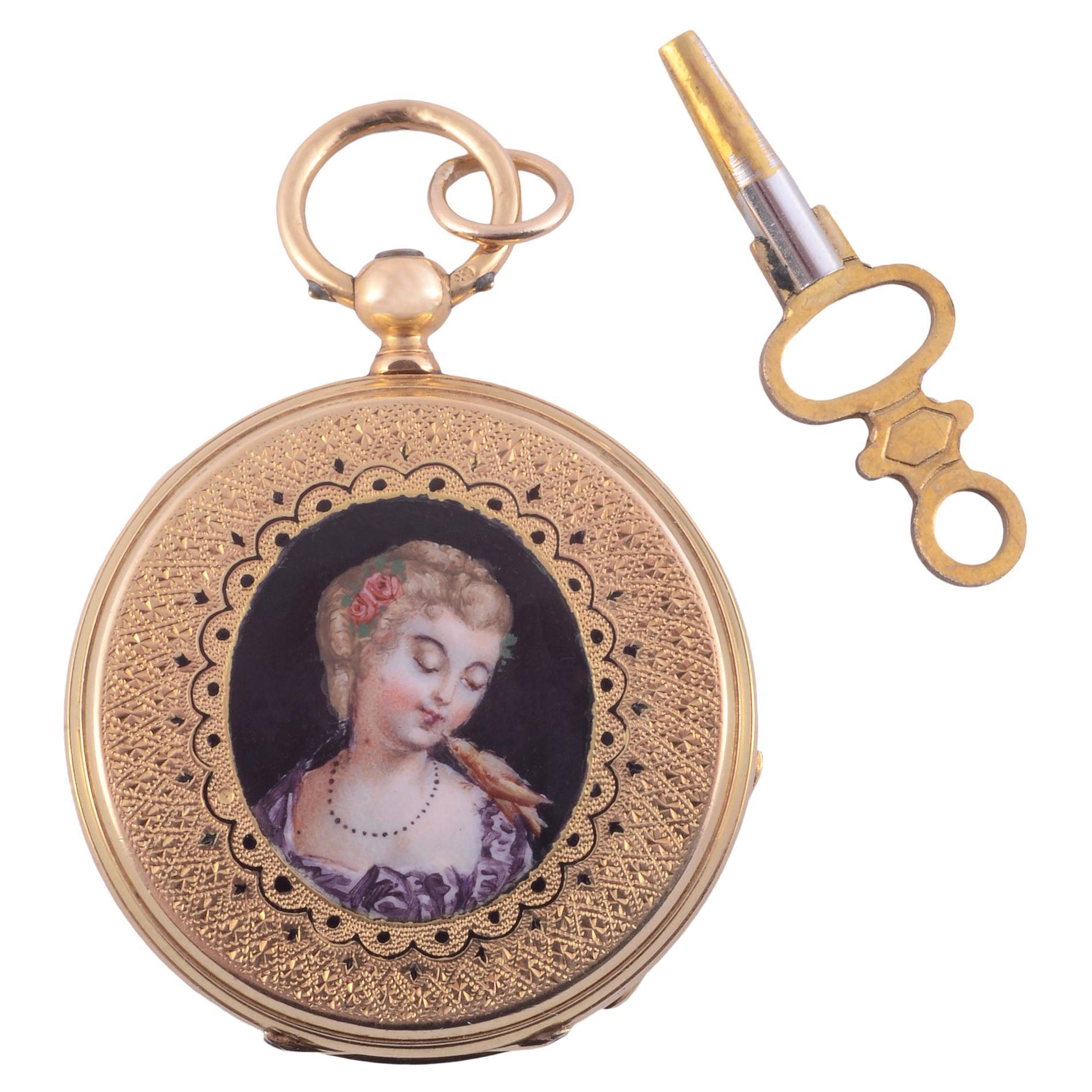 E Bronner & Cie Portrait Hunter Case 18k Pocket Watch