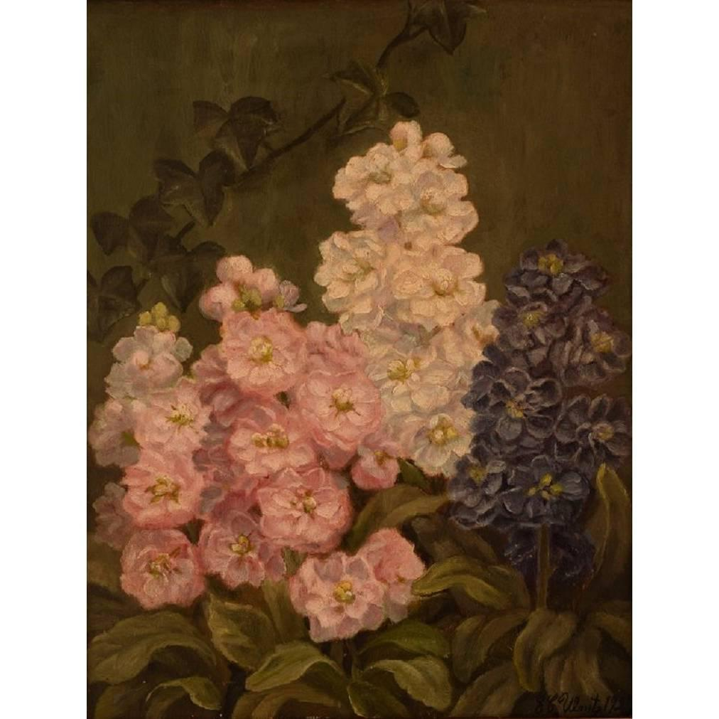 E. C. Ulnitz, Well Listed Danish Artist. Flower Painting, Oil on Canvas