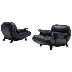 E. Cobianchi Lounge Chairs in Black Leather
