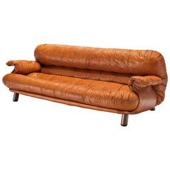 E. Cobianchi Sofa in Tufted Cognac Leather