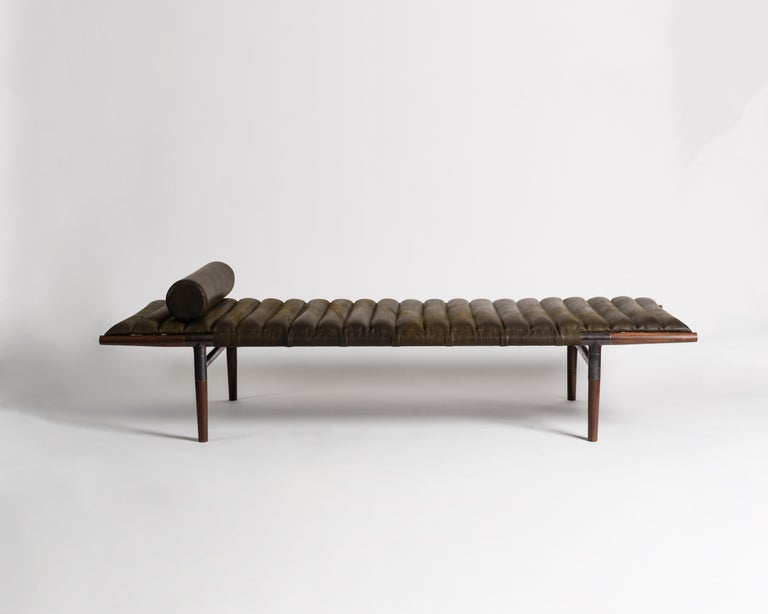 """The EÆ daybed in Horween leather with ebonized rosewood legs and blackened brass frame. """"I wanted to create something better than Mies van der Rohe,"""" says designer Ben Erickson of Erickson Aesthetics about his EAE daybed, which bears a striking"""