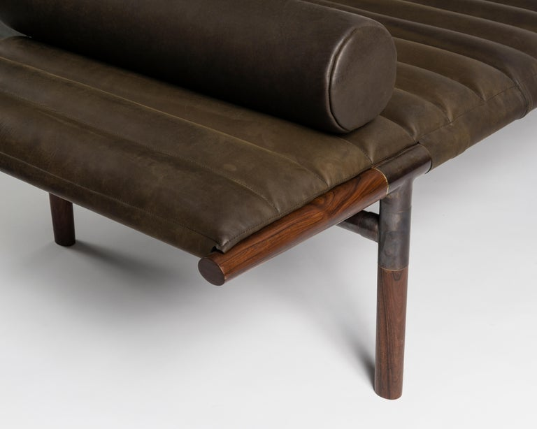 Modern The EÆ Daybed in Horween leather with Ebonized Rosewood Legs and Blackened Brass For Sale