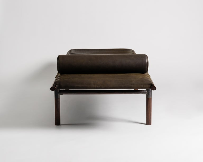 American The EÆ Daybed in Horween leather with Ebonized Rosewood Legs and Blackened Brass For Sale