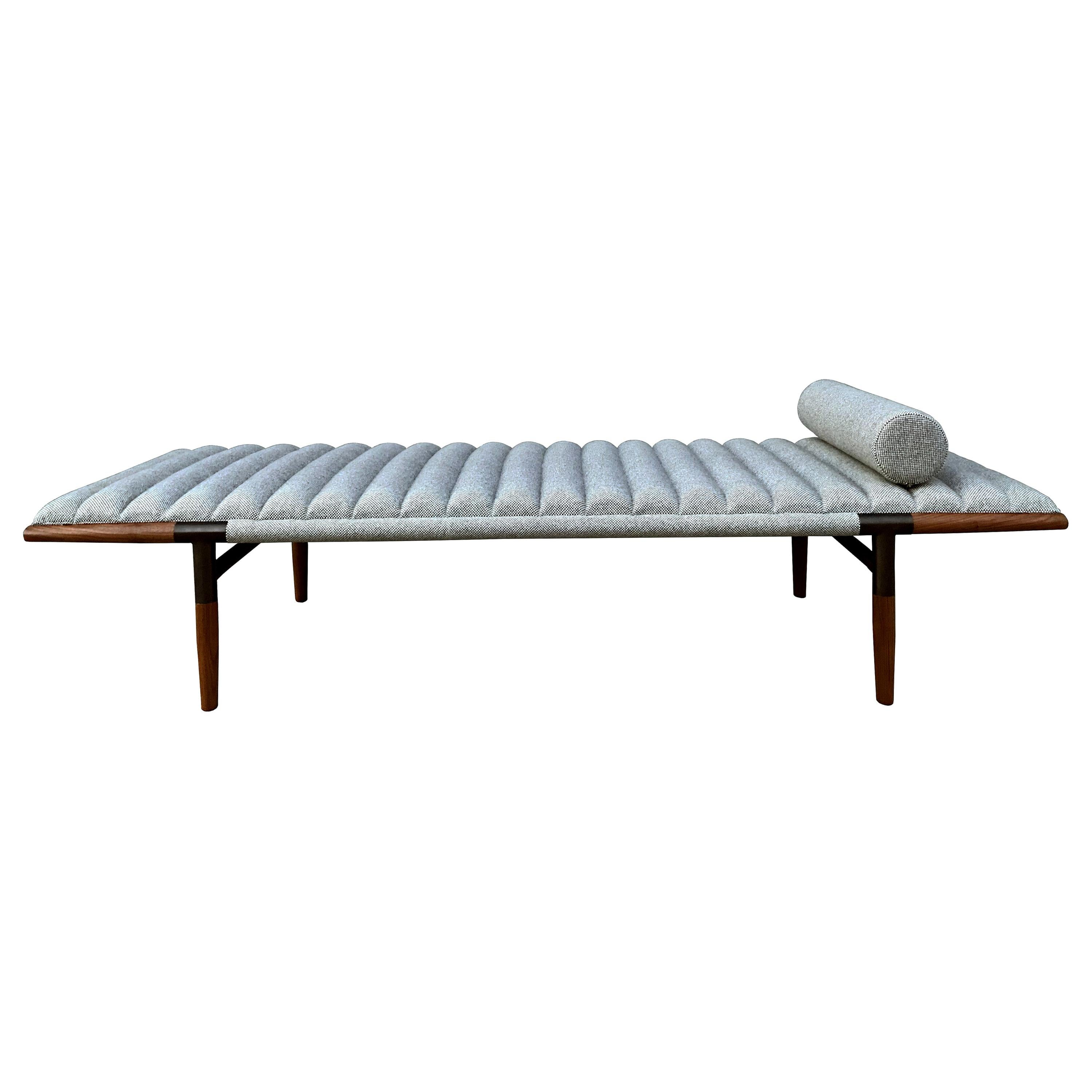 EÆ Daybed in Fortuny Wool, Walnut and Blackened Brass by Erickson Aesthetics