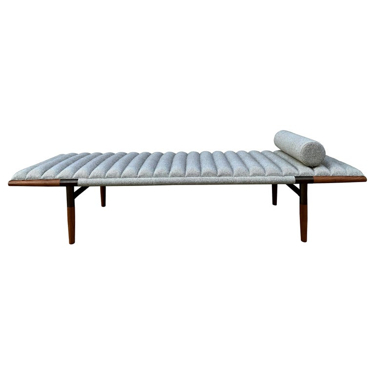 EÆ Daybed in Fortuny Wool, Walnut and Blackened Brass by Erickson Aesthetics For Sale