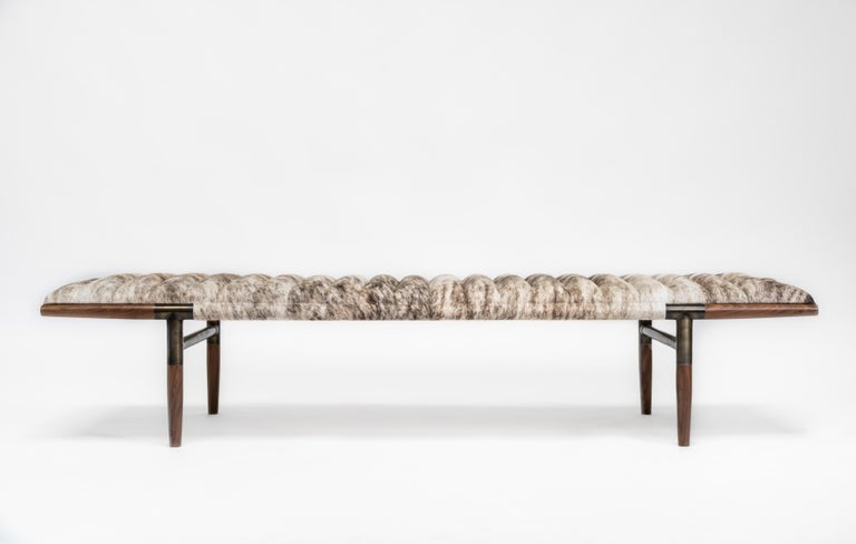 Modern EÆ Daybed in Grey Brindle Hide, Walnut, Blackened Brass by Erickson Aesthetics For Sale