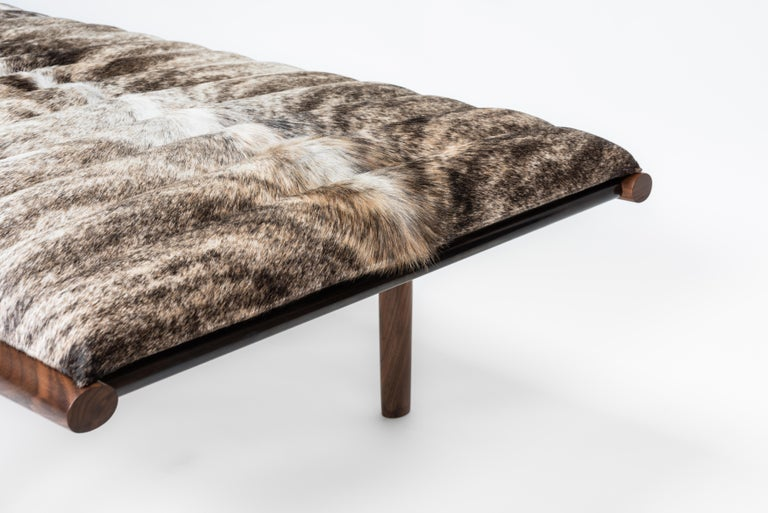 EÆ Daybed in Grey Brindle Hide, Walnut, Blackened Brass by Erickson Aesthetics In New Condition For Sale In Brooklyn, NY