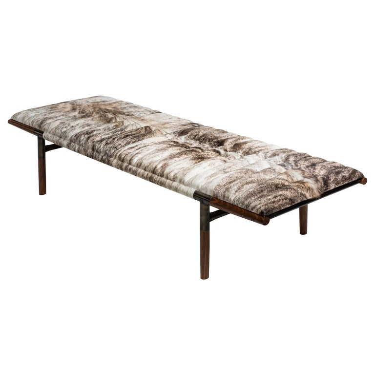 EÆ Daybed in Grey Brindle Hide, Walnut, Blackened Brass by Erickson Aesthetics For Sale