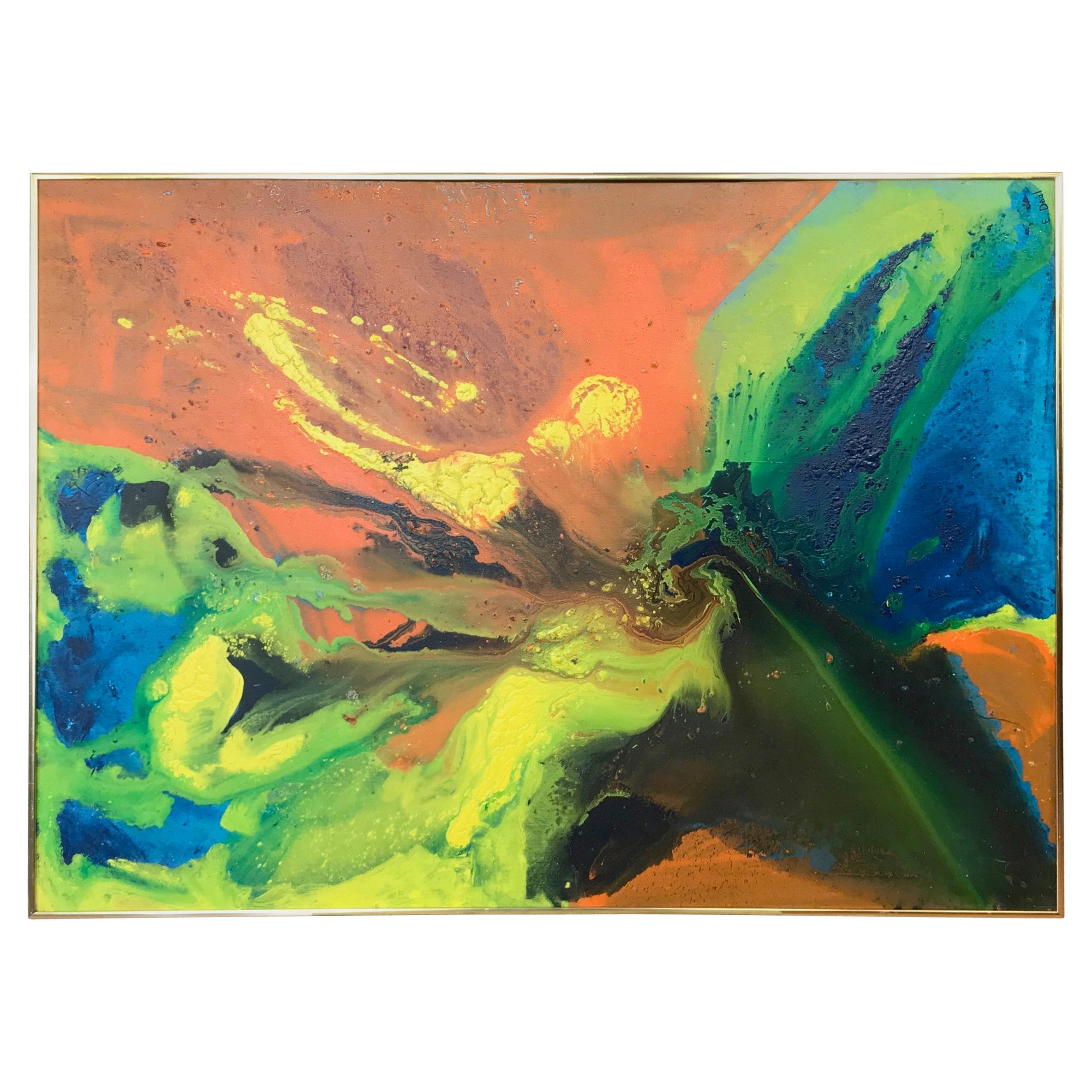 """E. Deal """"Quasar"""" Large Abstract Expressionist Poured Painting, 1973"""
