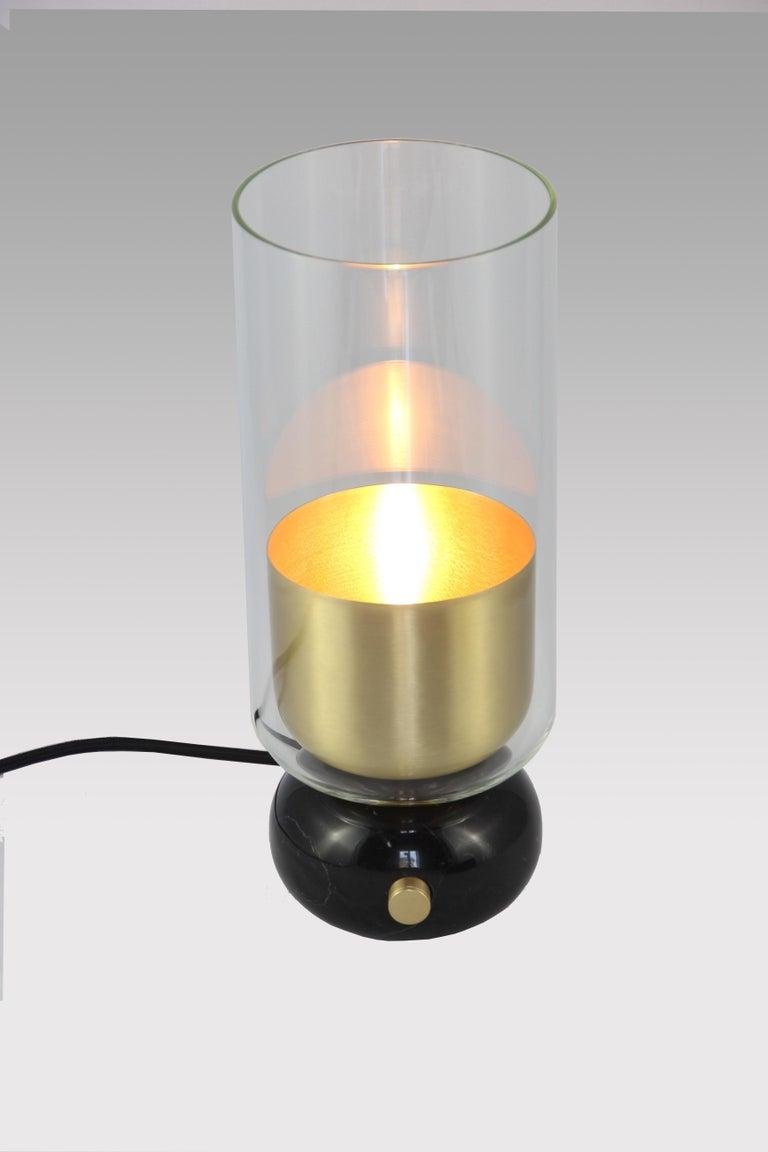 Minimalist E. Elizarova for Matlight Italian Black Marble Glass and Brass Flute Table Lamp For Sale