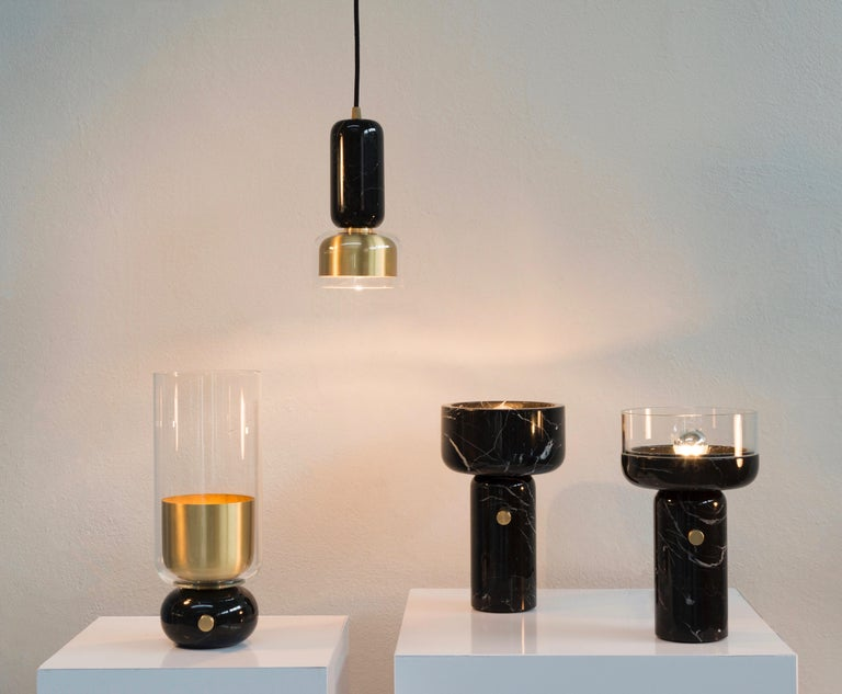 Hand-Crafted E. Elizarova for Matlight Italian Black Marble Glass and Brass Flute Table Lamp For Sale