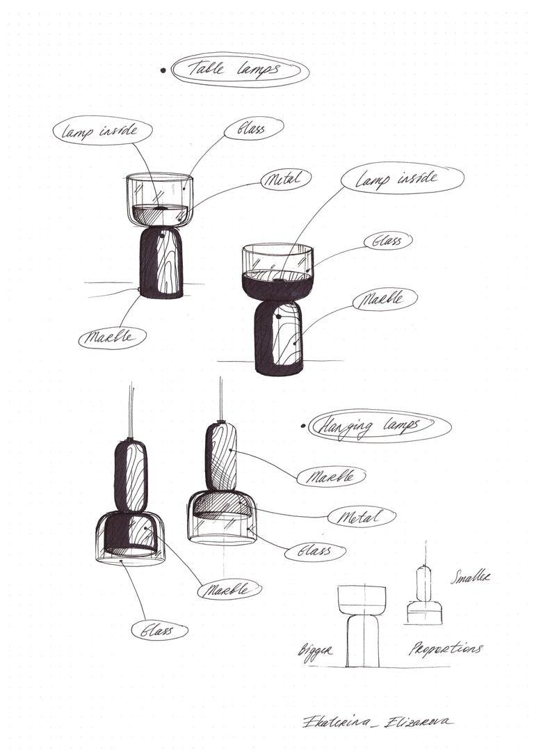 Contemporary E. Elizarova for Matlight Italian Black Marble Glass and Brass Flute Table Lamp For Sale