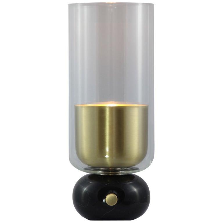 E. Elizarova for Matlight Italian Black Marble Glass and Brass Flute Table Lamp For Sale