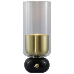 E. Elizarova for Matlight Italian Black Marble Glass and Brass Flute Table Lamp
