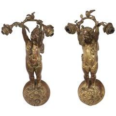 E. F. Caldwell Bronze-Doré Putti Sconces