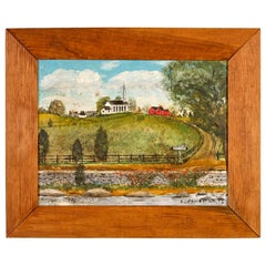 E. G. Fahrenholtz Folk Art Outsider Art Country Church Painting