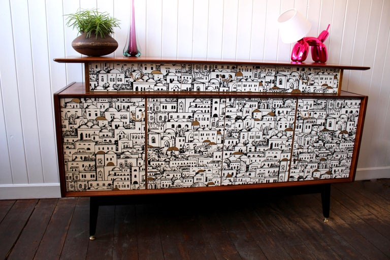 Mid-Century Modern E Gomme 'G-Plan' Teak Sideboard with Fornasetti Decoupage, 1958 For Sale