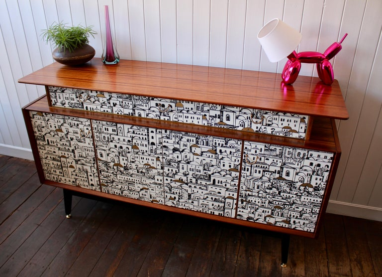 English E Gomme 'G-Plan' Teak Sideboard with Fornasetti Decoupage, 1958 For Sale