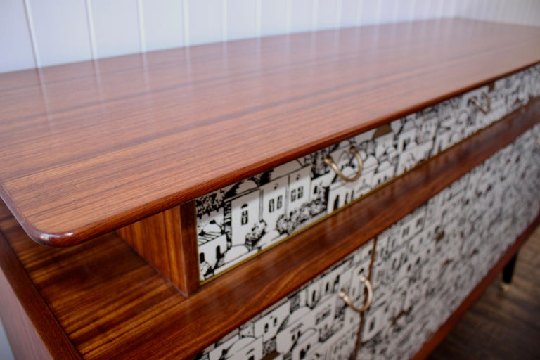 E Gomme 'G-Plan' Teak Sideboard with Fornasetti Decoupage, 1958 In Good Condition For Sale In Heathfield, East Sussex