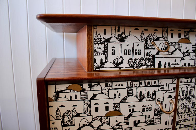 20th Century E Gomme 'G-Plan' Teak Sideboard with Fornasetti Decoupage, 1958 For Sale