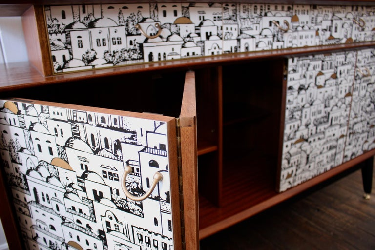 Paper E Gomme 'G-Plan' Teak Sideboard with Fornasetti Decoupage, 1958 For Sale