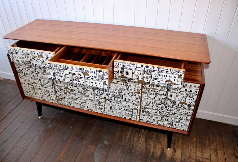 E Gomme 'G-Plan' Teak Sideboard with Fornasetti Decoupage, 1958 For Sale 1