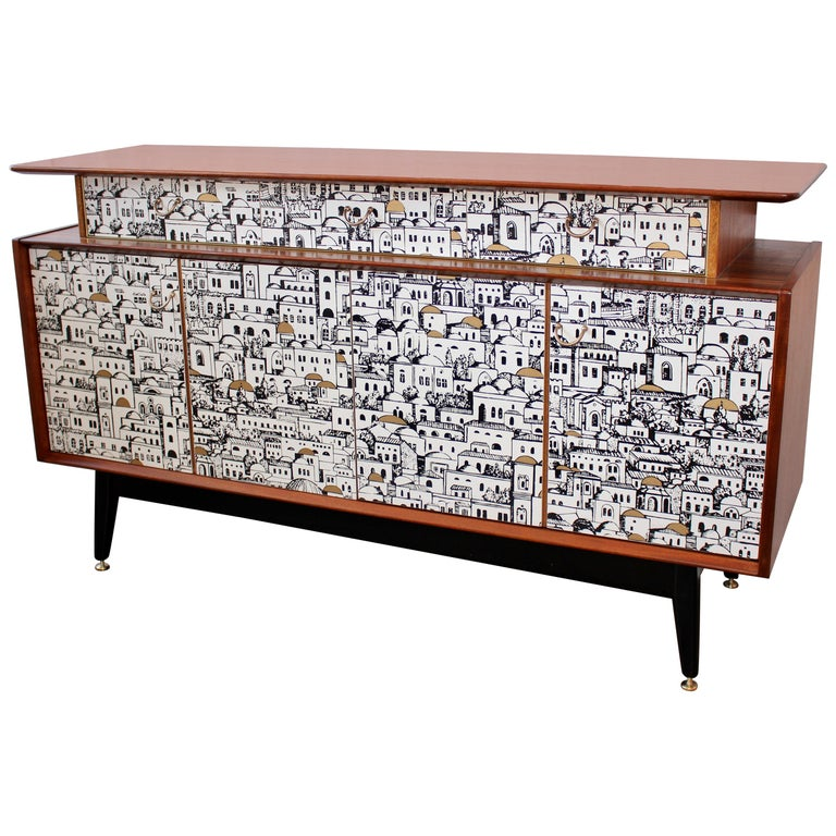 E Gomme 'G-Plan' Teak Sideboard with Fornasetti Decoupage, 1958 For Sale