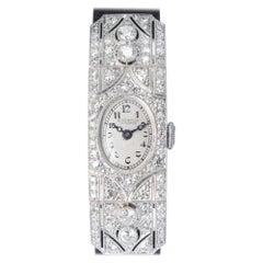 E. Gubelin Art Deco .75 Carat Diamond Platinum Ladies Wristwatch