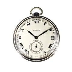 E. Gubelin Stainless Steel 1940s Manual Wind Pocket Watch