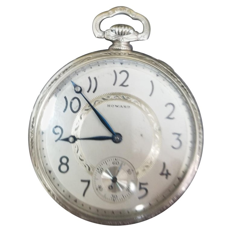 E. Howard 17 Jewels 3 Positions White Gold Filled Pocket Watch, circa 1917 For Sale