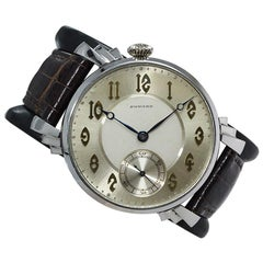 E. Howard Steel Art Deco Dial Oversized Manual Winding Wristwatch, circa 1920s