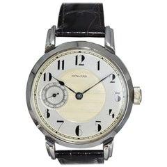 E. Howard Steel Art Deco Dial Oversized Manual Winding Wristwatch, circa 1920s