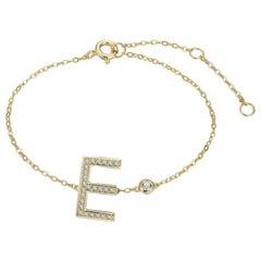 E-Initial Bezel Chain Anklet