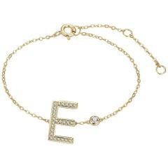 E Initial Bezel Chain Bracelet