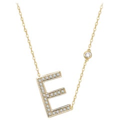 E Initial Bezel Chain Necklace