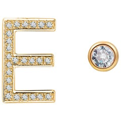 E Initial Bezel Mismatched Earrings