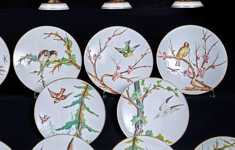 E J D Bodley Relief 24 Moulded Pieces Bone China Dessert Service For Sale 1