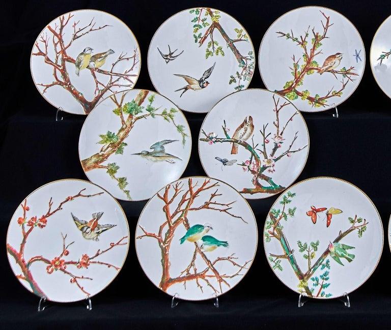 E J D Bodley Relief 24 Moulded Pieces Bone China Dessert Service For Sale 3