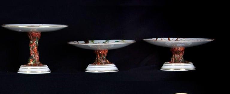 E J D Bodley Relief 24 Moulded Pieces Bone China Dessert Service For Sale 4