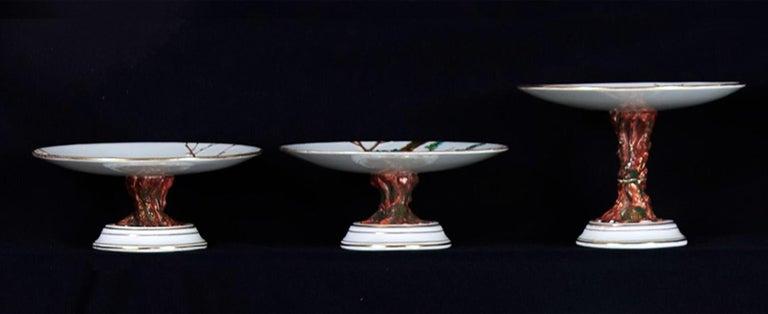 E J D Bodley Relief 24 Moulded Pieces Bone China Dessert Service For Sale 6