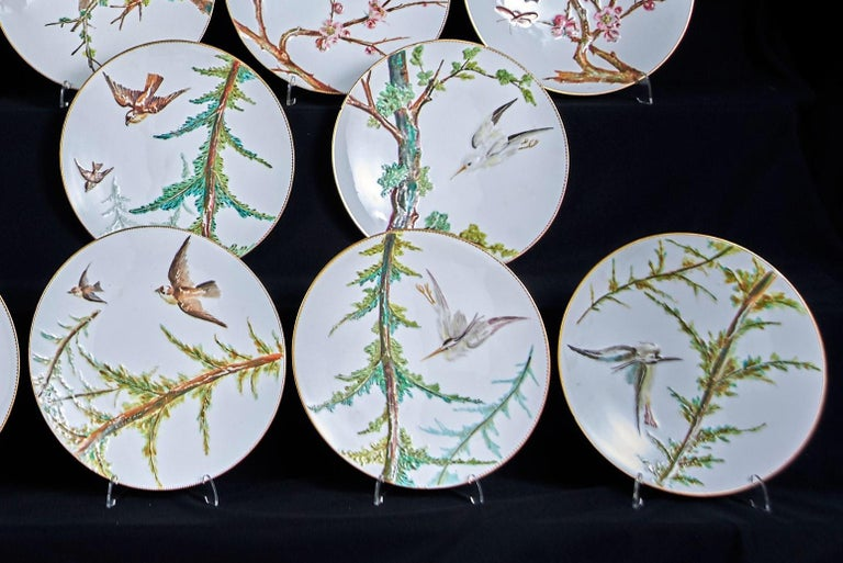 British E J D Bodley Relief 24 Moulded Pieces Bone China Dessert Service For Sale